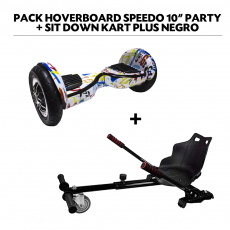 "Pack Hoverboard Speedo 10"" Party+Sit Down Kart Plus Negro"