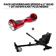 "Pack Hoverboard Speedo 6.5"" Rojo + Sit Down Kart Plus Negro"