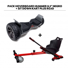 "Pack HoverBoard Hummer 8.5"" Negro + Sit Down Kart Plus Rojo"