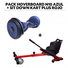 Pack Hoverboard N10 Azul+Sit Down Kart Plus Rojo