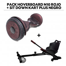 Pack Hoverboard N10 Rojo+Sit Down Kart Plus Negro